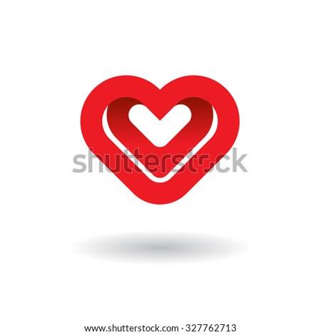Two hearts vector logo design template. Creative concept icon.  - stock vector