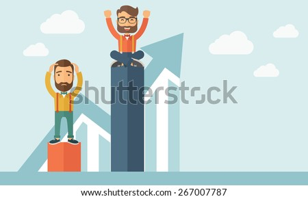 Two hipster Caucasian businessmen with beard. Man on top is happy while sitting and man in bottom is sad while standing. Rivalry concept. A contemporary style with pastel palette soft blue tinted - stock vector