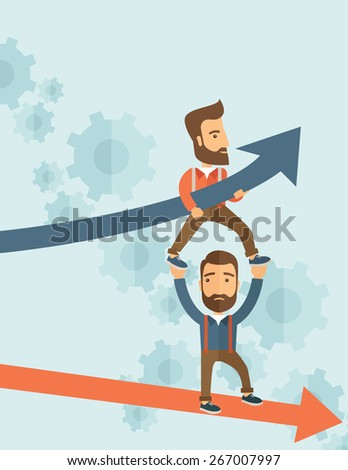 Two hipster Caucasian businessmen with beard with red and blue arrow. Blue is for success and red is for failure in business. Team building. A contemporary style with pastel palette soft blue tinted - stock vector