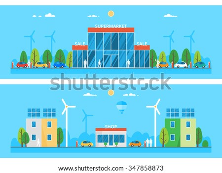 Two horizontal banners. Large supermarket with parking for cars. Convenience stores in the city. Alternative energy sources - stock vector