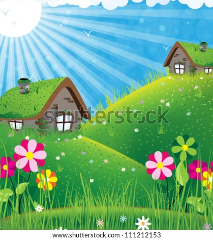 Two houses with sod roofs on a green meadow. Summer sunny landscape - stock vector