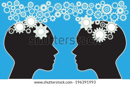 Two human heads concept  - stock vector