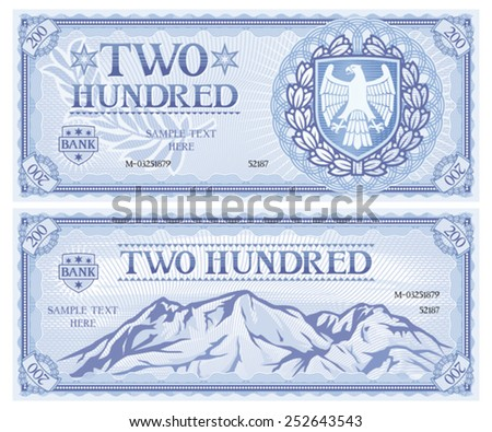 two hundred abstract banknote - stock vector
