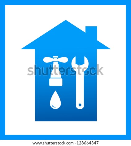 two icon with hammer, wrench and house on white background - stock vector