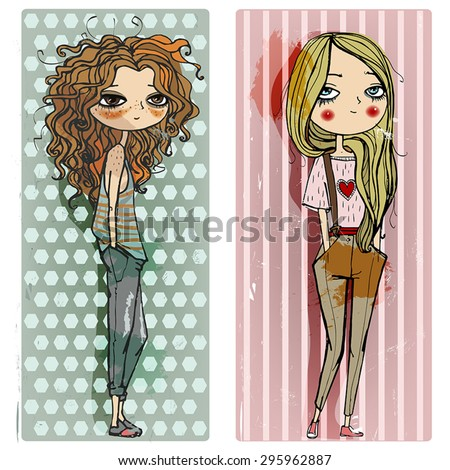 two illustration with fashion teen girls - stock vector
