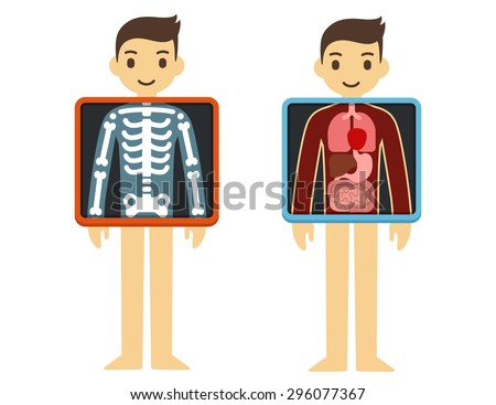 Two illustrations of cute cartoon adult man with x-ray screen showing his internal organs and skeleton. Element of health infographics. - stock vector