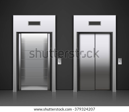 Two images of a modern elevator with opened and closed doors - stock vector