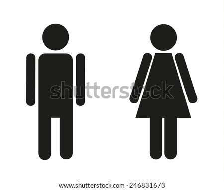 Two isolated icons for male and female - stock vector