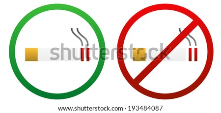 Two isolated signs for smoke allowed and not allowed - stock vector