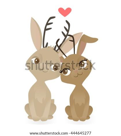 Two jackalopes in love - stock vector