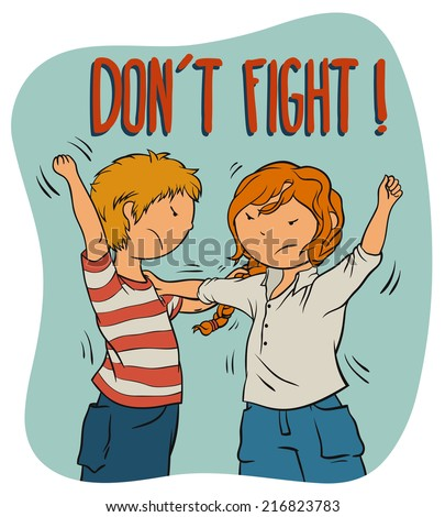 Two Kids Fighting (girl and boy) -  Illustration For Children, Vector Cartoon About Bullying And Behavior Theme. - stock vector