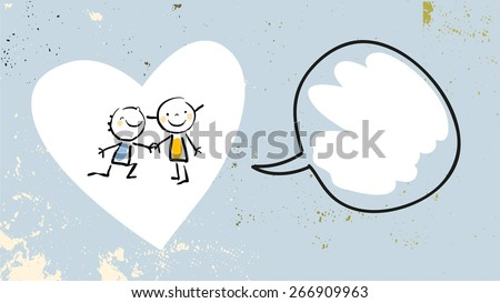 Two kids on heart shape, friendship, love concept vector illustration. Cute little kids, girl, and boy, playing. Doodle, sketch. - stock vector