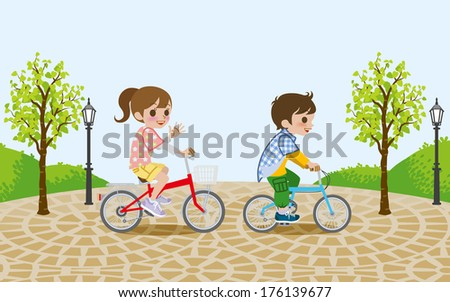 Two kids riding Bicycle, in the park - stock vector