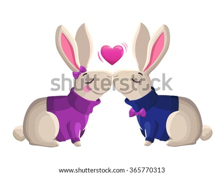 Two kissing rabbits isolated on white background. Cartoon vector illustration. Valentines Day Card. - stock vector