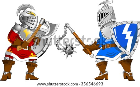 Two knights in red and blue uniforms fighting - stock vector