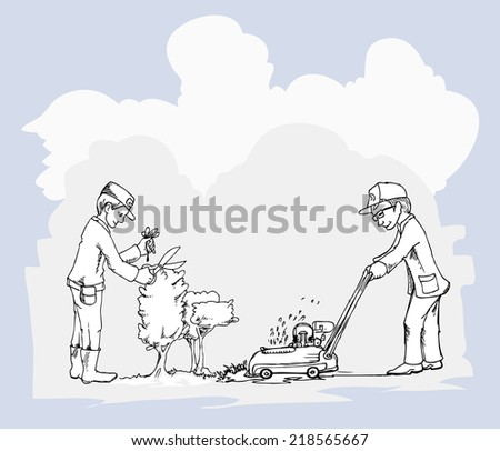 two landscapers in work - stock vector