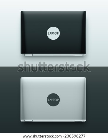 Two laptops (black and white), top view, eps 10 - stock vector
