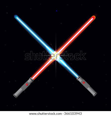 Two light swords on stars background. - stock vector