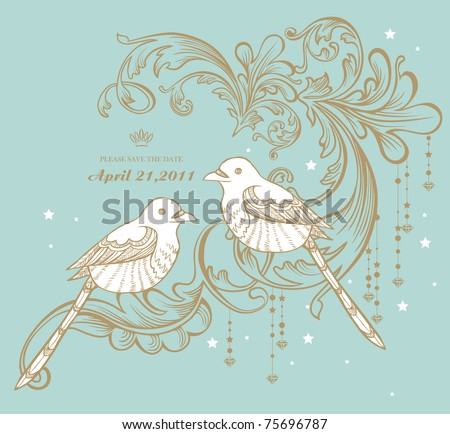 two little birds vintage card pattern design - stock vector