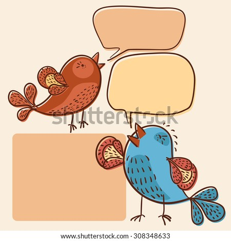 two little birds with speech bubbles offset vector illustration - stock vector