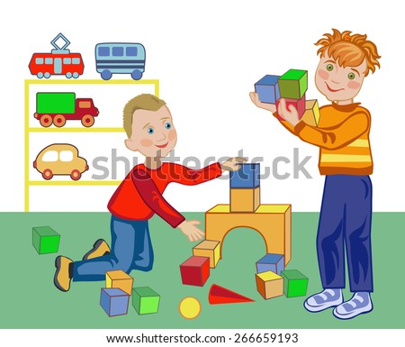 Two little boys build a house out of blocks in the kindergarten - stock vector