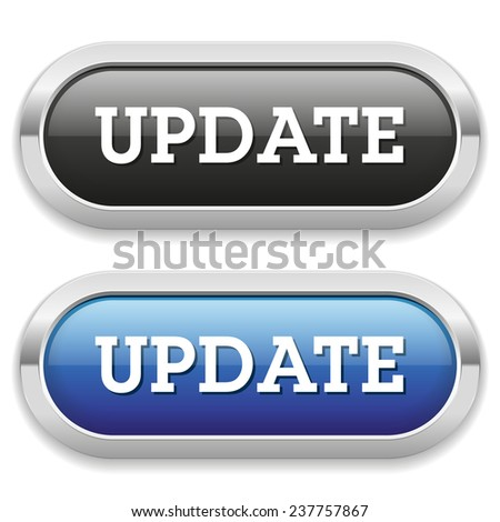 Two long update button with metallic border on white background - stock vector