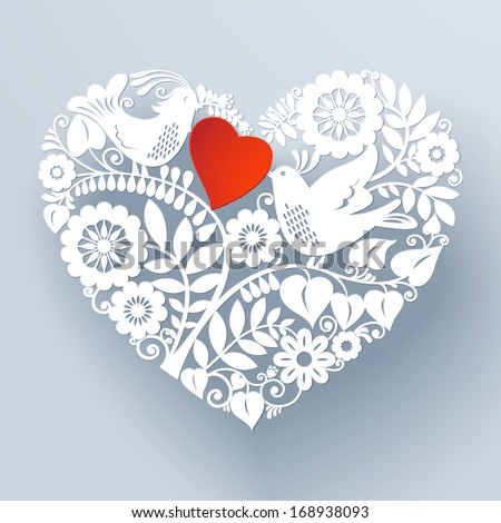 Two love birds are part of a beautiful floral lace like paper cut ornament that creates a three-dimensional heart shape design element. Vector EPS 10 illustration. - stock vector
