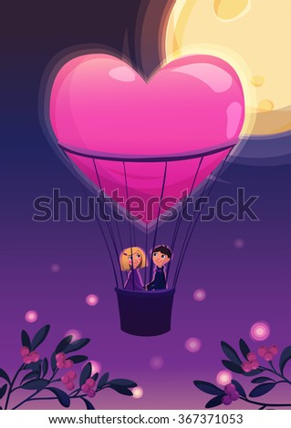 Two lovers in a balloon. in night on the moon background. Cartoon vector illustration. Valentines Day Card. - stock vector