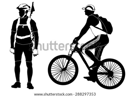 Two male bicyclists - stock vector