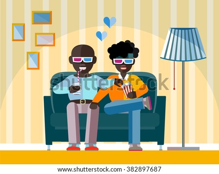 Two man Afro-American friends watch a movie in 3D glasses. Aframerican Gay couple smiling, relaxing, eating corn and drinking soda. High tech 3d tv for Home - concept in flat design style - stock vector