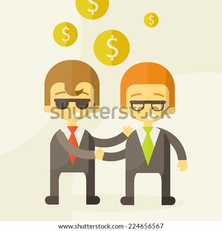 two man talking about business ,business money, vector illustration - stock vector