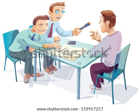 Two managers are proposing the young man to sign the agreement. - stock vector