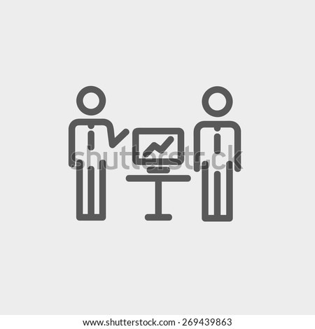 Two men and their business report icon thin line for web and mobile, modern minimalistic flat design. Vector dark grey icon on light grey background. - stock vector