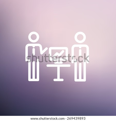 Two men and their business report icon thin line for web and mobile, modern minimalistic flat design. Vector white icon on gradient mesh background. - stock vector