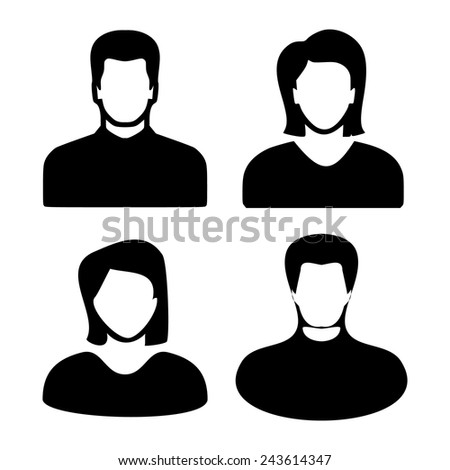Two men and women black avatar profile picture set. Vector illustration eps10 - stock vector
