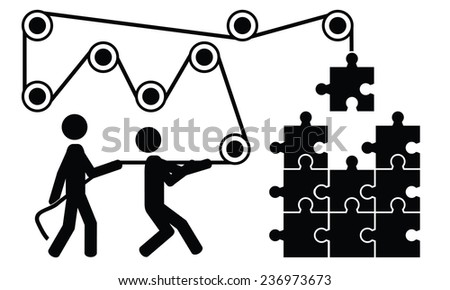 Two men are working at a puzzle. It is a stick figure vector. EPS10 - stock vector