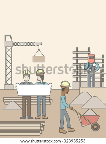 Two men considering building project while other builders work at the building site. Vector line design illustration. Vertical layout with a text space. - stock vector