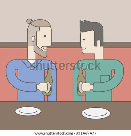 Two men sitting in the bar drinking beer with empty plates on the table. Vector line design illustration. Square layout. - stock vector