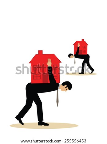Two men with houses on their backs. A vector illustration of a mortgage debt burden. - stock vector