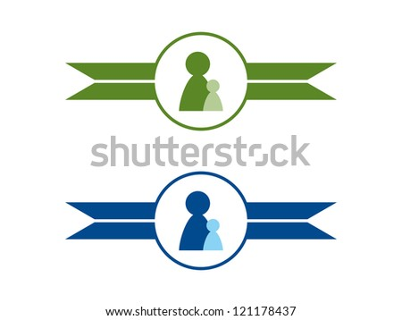 Two Mentoring Dividers in Green and Blue. - stock vector