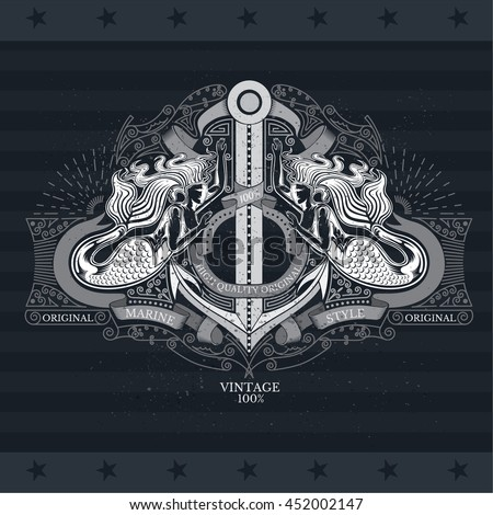 Two mermaids hold the anchor with ribbons and line pattern. Marine style background on blackboard - stock vector
