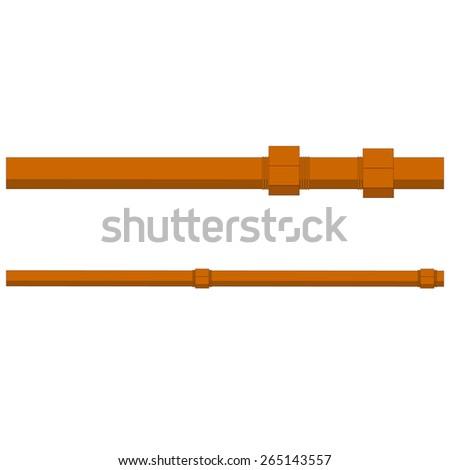 Two metallic industrial water, fuel, gasoline, oil pipes vector - stock vector