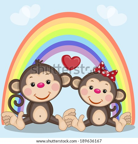 Two Monkeys on the background of rainbow - stock vector