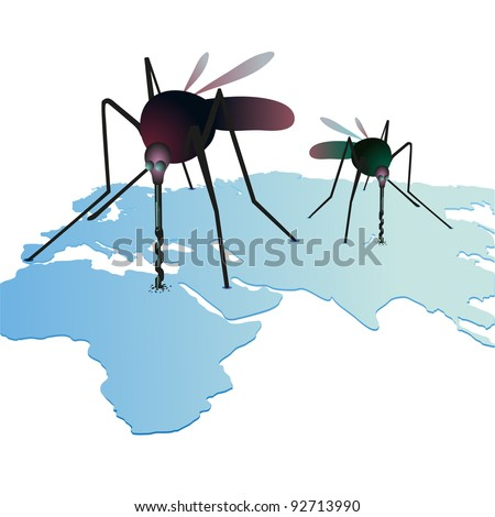 Two mosquitso sucking out natural resources on the world`s map - stock vector