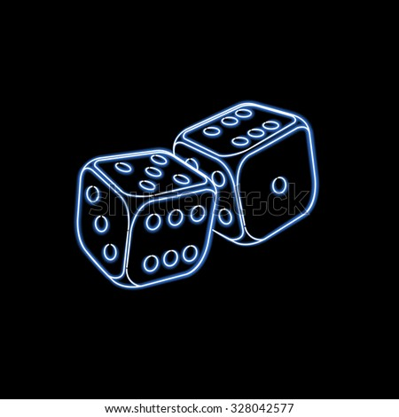 Two neon dices. Vector illustration - stock vector