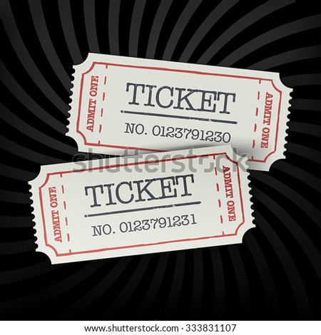 Two old-fashioned cinema tickets on dark sunburst monochrome background. All layers separated and can be edited. - stock vector