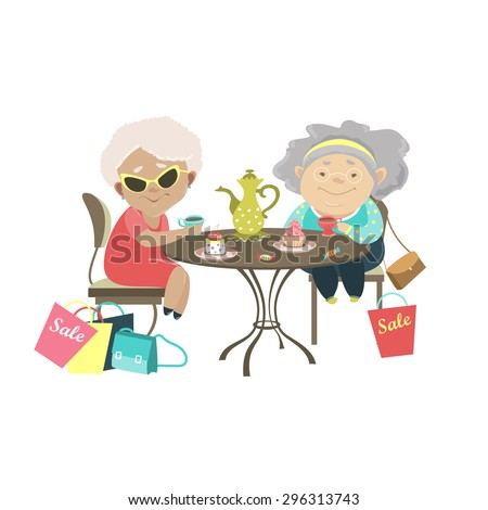 Two old women talking in a cafe after shopping. Vector isolated illustration - stock vector