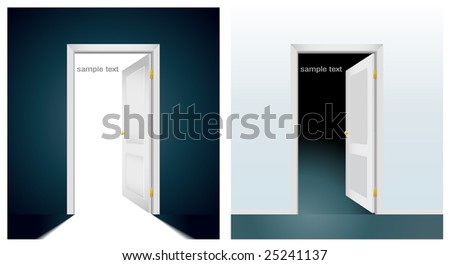 two open doors to light and darkness - stock vector