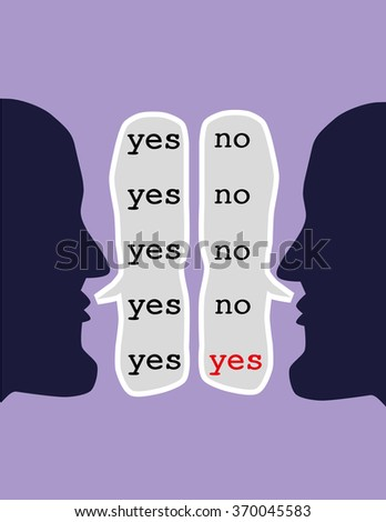 Two opposing heads repeating the words yes and no in speech bubbles until both say yes as a concept for the art of reaching agreement through negotiation - stock vector