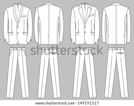 Two options of business suits for the man - stock vector